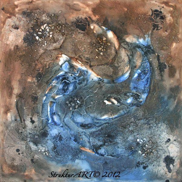 Marmormehl, Blau, Pigmente, Zeitgenössische kunst, Tusche, Beize