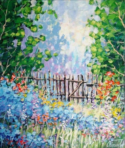 Blumen, Wiese, Blumenwiese, Natur, Malerei