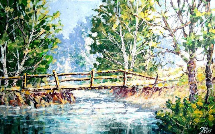 Weg, Blumen, Fluss, Brücke, Malerei