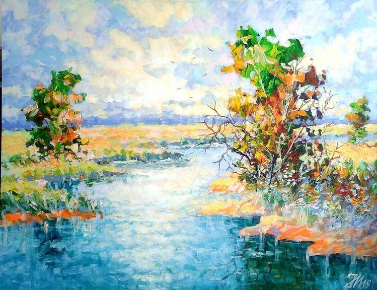 Natur, Fluss, Flusslandschaft, Malerei