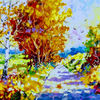 Herbstweg, Modern, Bunt, Malerei