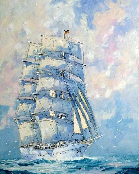 Segelschiff, Gorch fock, Malerei,
