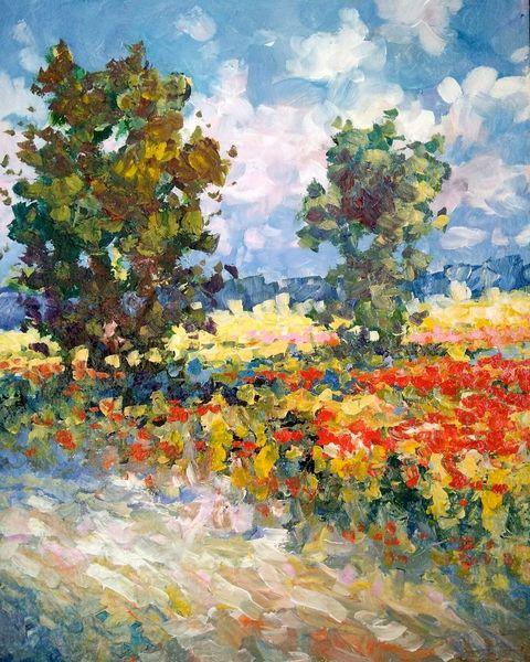 Wiese, Blumenwiese, Sommer, Feldblumen, Sonne, Malerei
