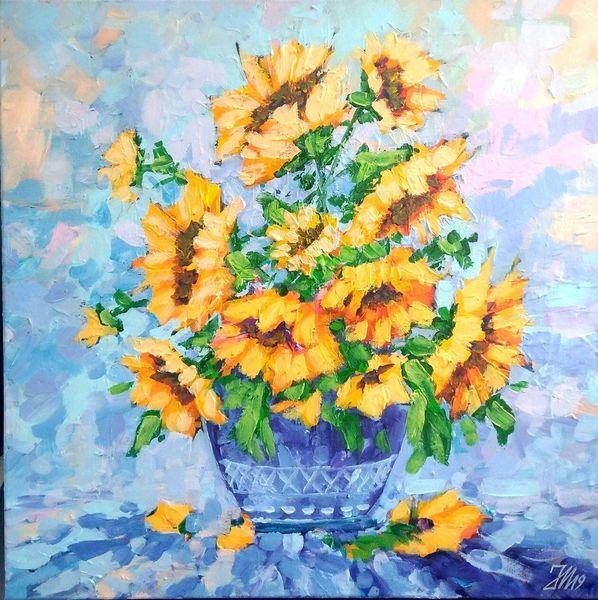 Natur, Sonnenblumen, Blumen, Malerei