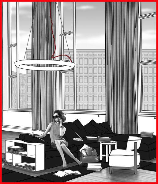 Roteskabel, Kunstdruck, Grafik, Digital, Digitale kunst, Figural