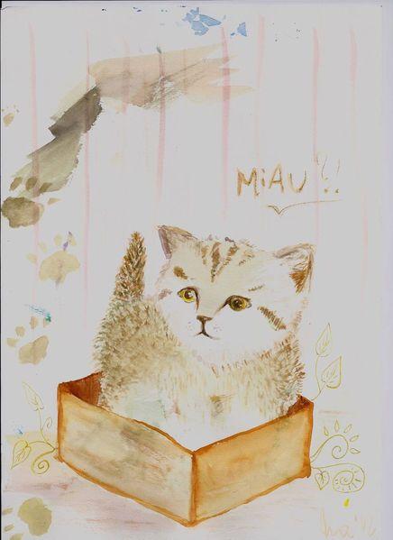 Aquarellmalerei, Box, Braun, Pappe, Katze, Babykatze