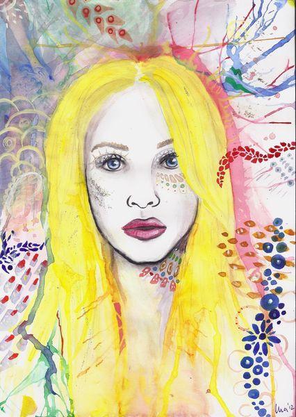Mädchen, Blond, Blaue augen, Frau, Hübsch, Muster