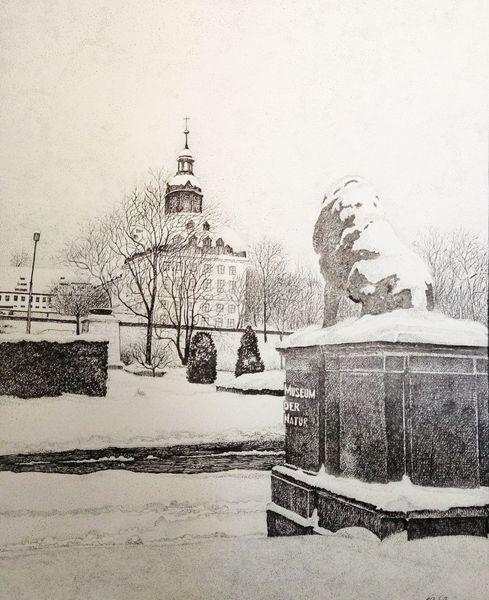 Gotha, Schloss, Winter, Zeichnungen, Architektur