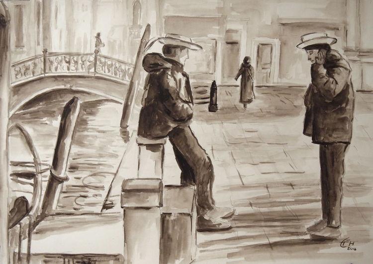 Gondel, Venedig, Impressionismus, Gegenständlich, Gemälde, Malerei