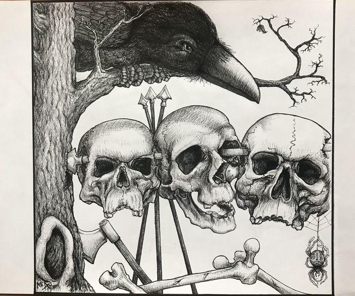 Rabe, Metall, Schädel, Zeichnungen, Augen, Schau