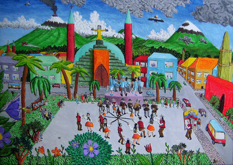 Stadt, Berge, Menschen, Palmen, Kirche, Ecuador