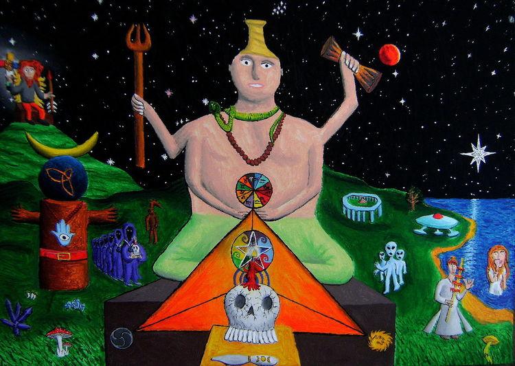Statue, Kerzen, Vishna, Stern, Acrylmalerei, Naive malerei