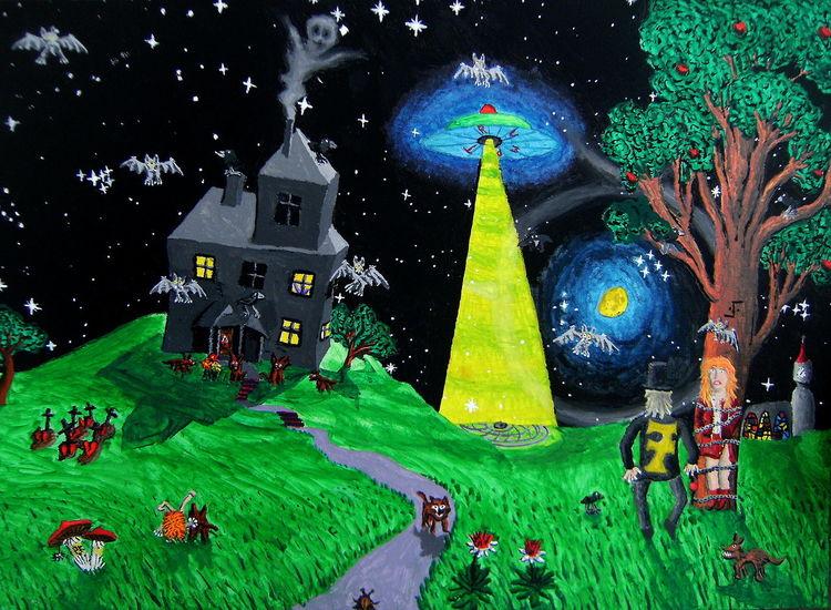 Frau, Haus, Mann, Baum, Fledermaus, Ufo