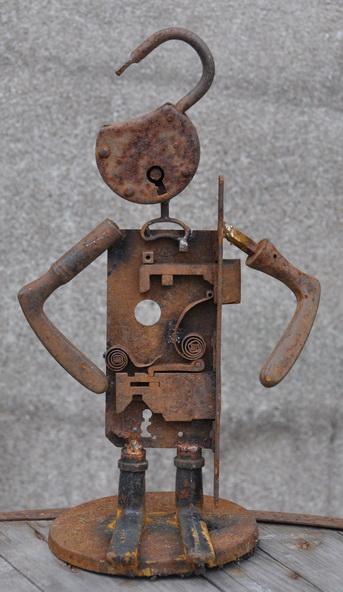 Skulptur, Schrott, Schlossherr, Stahl, Plastik, Heavy metal