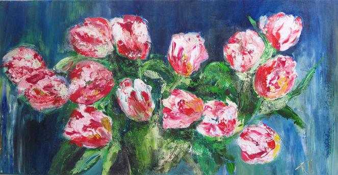 Abstrakt, Blumen, Malerei, Strukturieren, Acrylmalerei, Tulpen weiß