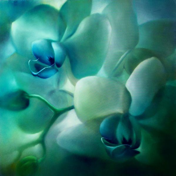 Blumen, Türkis, Grün, Orchidee, Malerei