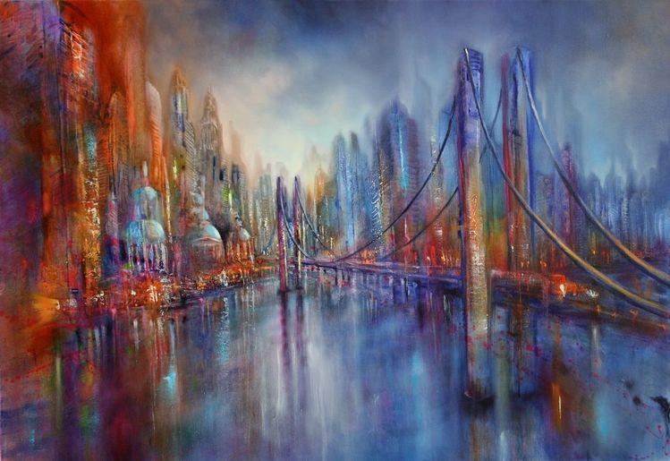 Skyline, Großstadt, Brücke, Stadt, Malerei