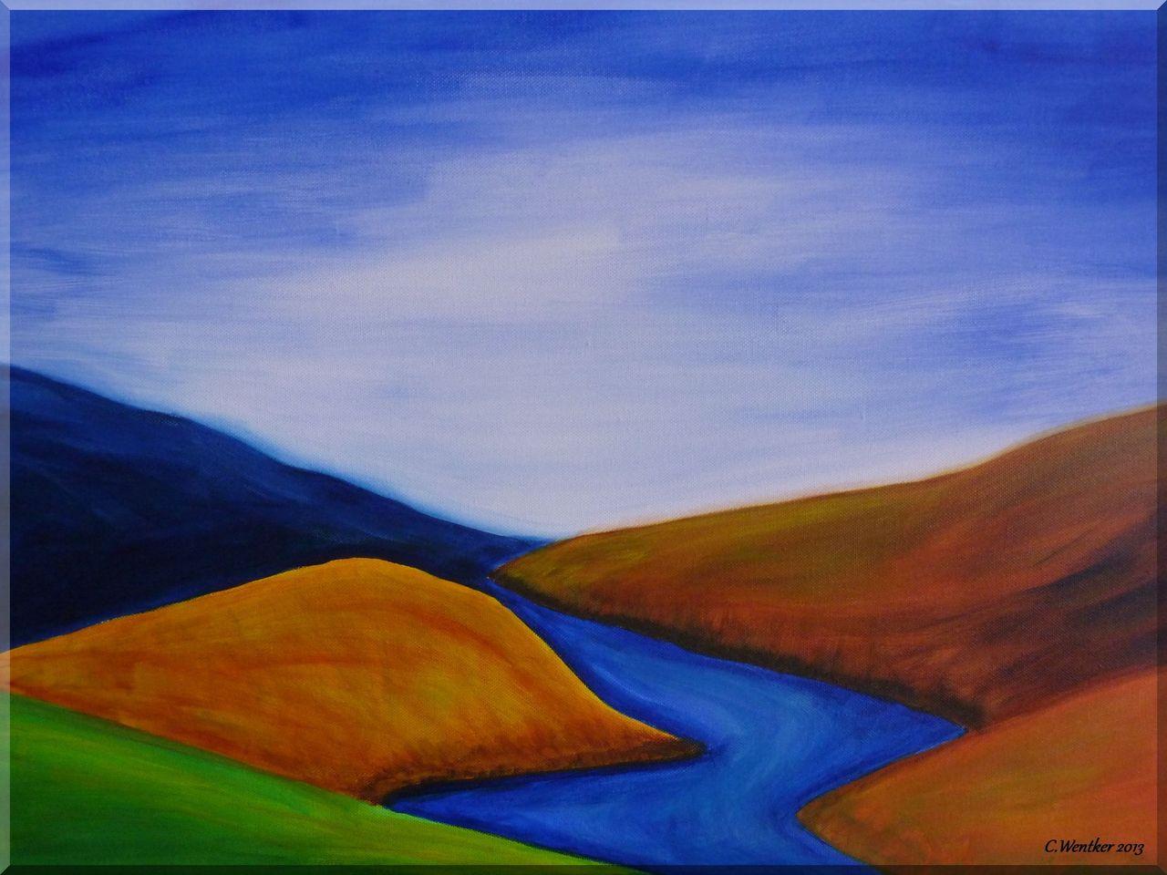 rheintal  acrylmalerei natur landschaft malerei von