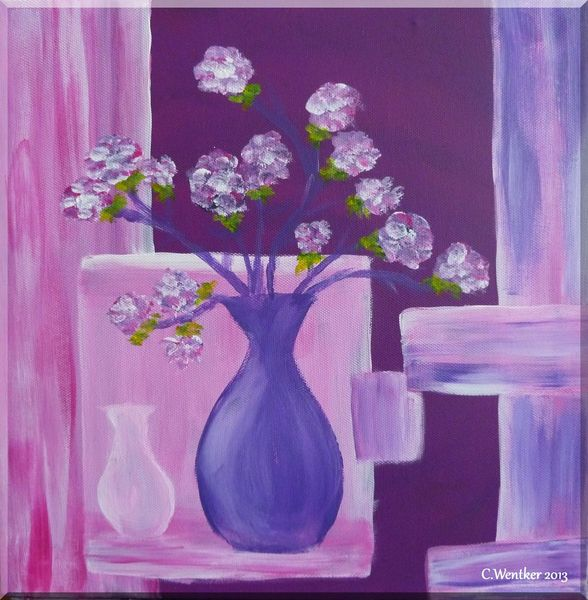 netter anblick lila acrylmalerei vase bl te von lust auf malen bei kunstnet. Black Bedroom Furniture Sets. Home Design Ideas