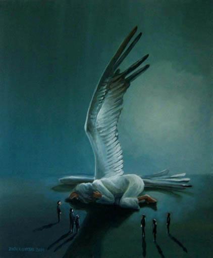 Menschen, Resignation, Nacht, Ölmalerei, Schlafender engel, Aufsicht