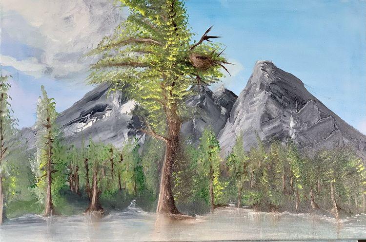 Tirol, Baum, Berge, Wald, Wasser, Malerei