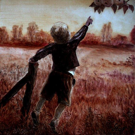 Kinder, Gernegroß, Wiese, Pflanzen, Malerei