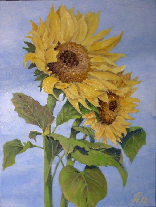 bild sonnenblumen malerei pflanzen kinderbilder von g nther hofmann bei kunstnet. Black Bedroom Furniture Sets. Home Design Ideas