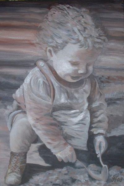 Spiel, Vertiefen, Menschen, Kind, Malerei,
