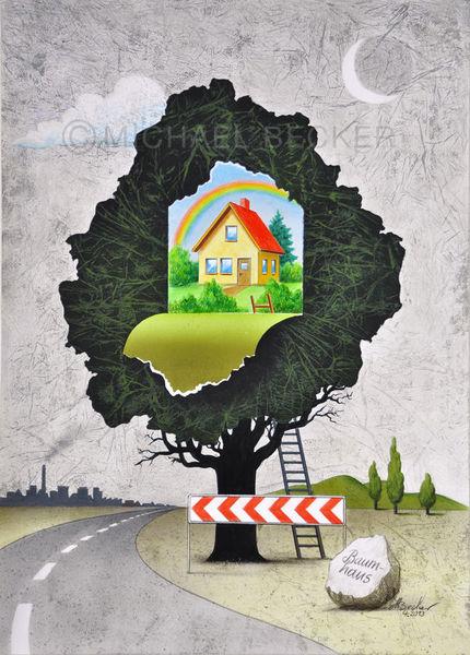Kindheit, Straße, Spielen, Baum, Illustration, Klettern
