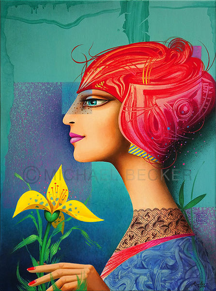Blumen, Frau, Acrylmalerei, Portrait, Profil, Malerei