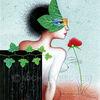 Efeu, Blumen, Kugelschreiber, Frau