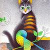 Zeichnung, Katze, Wellensittich, Kugelschreiber