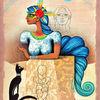 Zopf, Katze, Ägyptisch, Mischtechnik