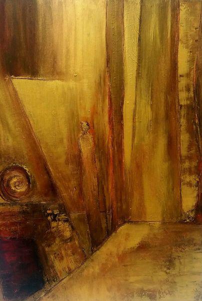 Frau, Kamin, Fantasie, Gold, Warm, Malerei
