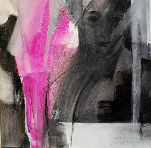 Frau, Trauer, Trennen, Malerei