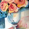 Vase, Blau, Rot, Rose
