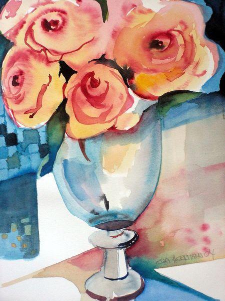 Rot, Rose, Vase, Blau, Aquarell