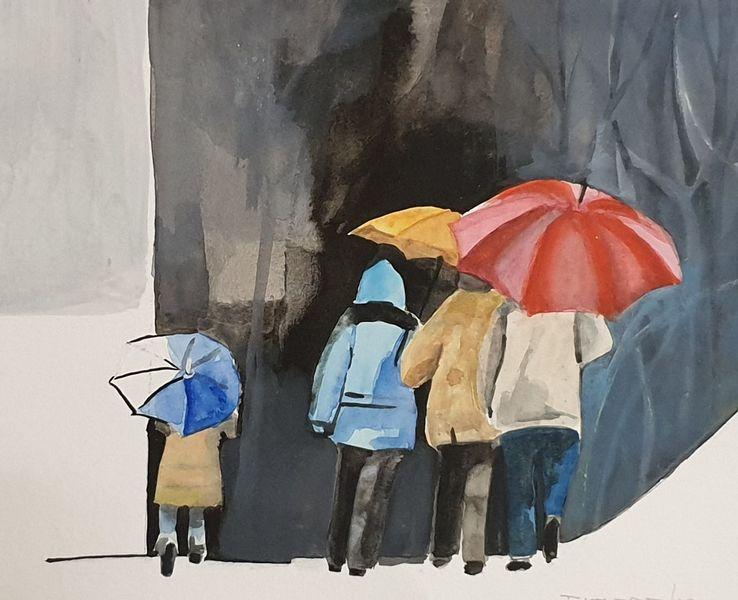 Sturm, Schirm, Aquarell,