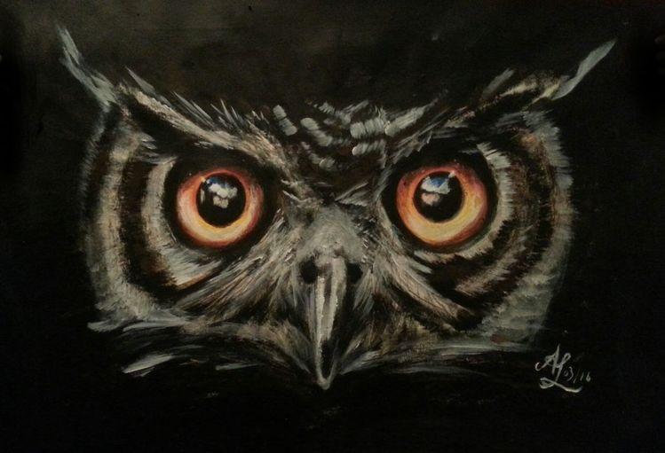 Pastellmalerei, Nacht, Buntstiftzeichnung, Augen, Eule, Polychromos