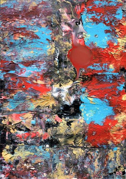 Schimpfmännlein, Acrylmalerei, Décalcomanie, Malerei,