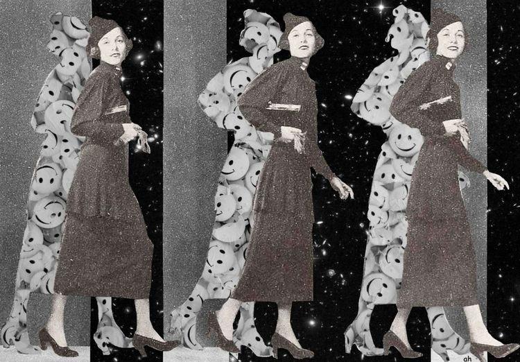 Lächeln, Universum, High heels, Mischtechnik