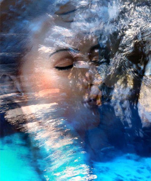 Regentonne, Wasser, Gesicht, Blau, Mischtechnik, Kurz