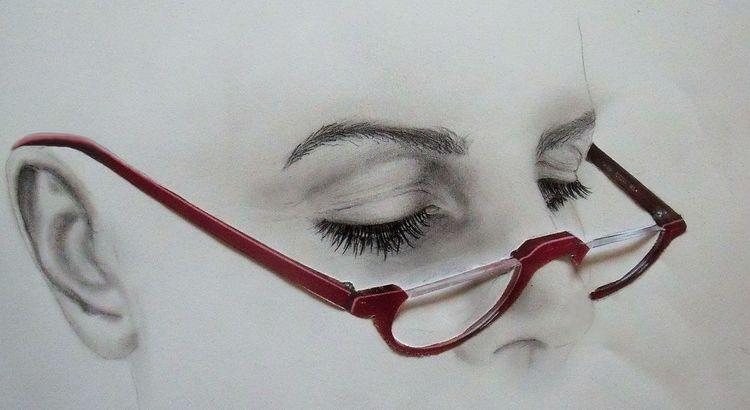 Rot, Augen, Brille, Lesen, Bleistiftzeichnung, Nase