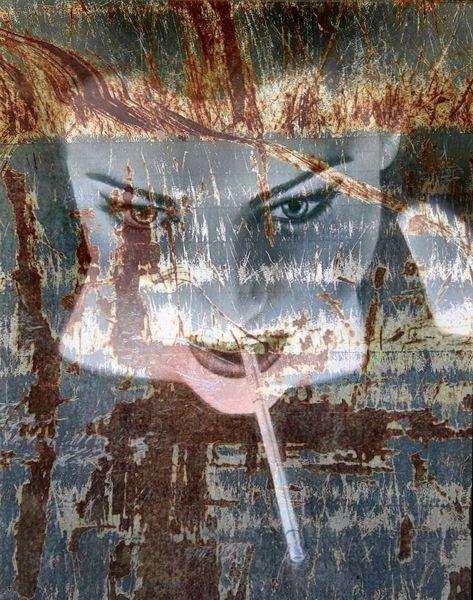 Baggerblech, Frau, Collage, Zigarette, Gesicht, Mischtechnik