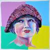 Zeitgenössische kunst, Acrylfarben, Rose, Magenta