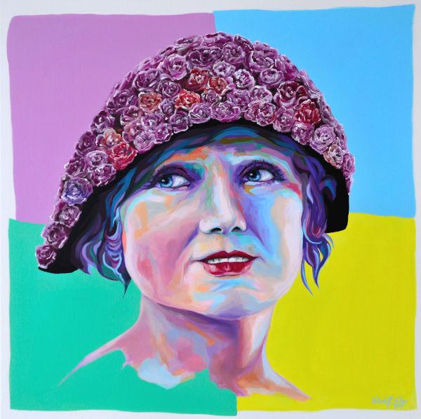 Magenta, Pop art, Blumen, Porträtmalerei, Acrylfarben, Rose