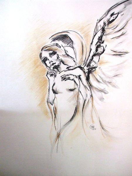 Kohlezeichnung, Religion, Engel, Flügel, Malerei, Stille