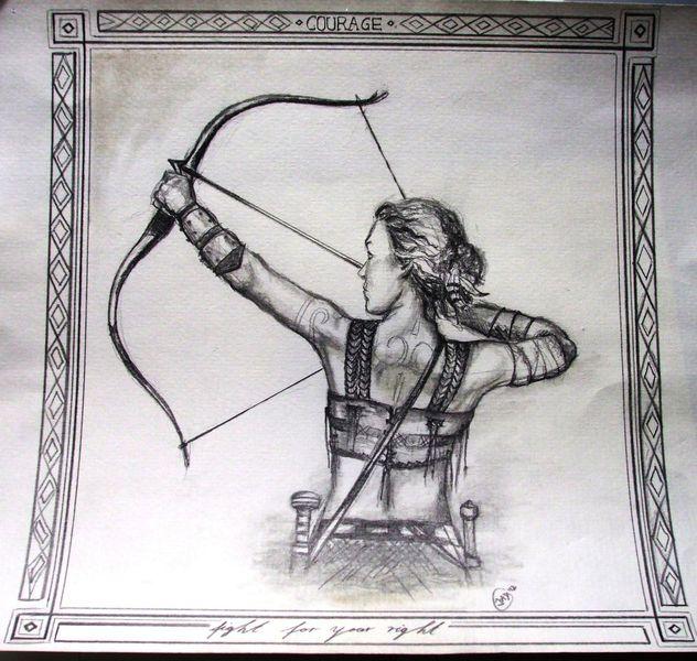 Waffe, Bogenschützin, Frau, Kriegerin, Malerei