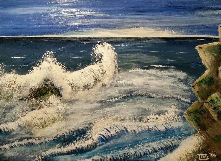 Klippe, Sturm, Welle, Brandung, Malerei