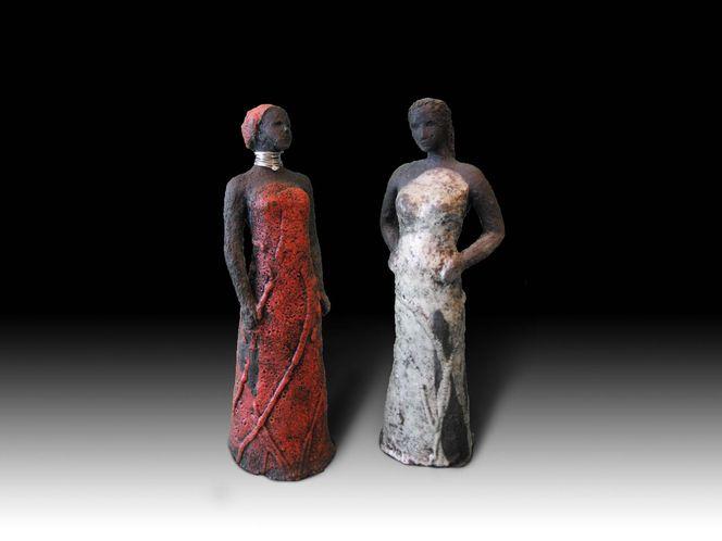 Raku, Ton, Keramik, Frau, Skulptur, Menschen